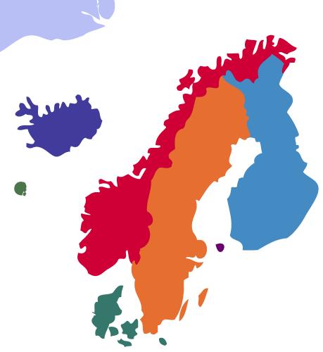 kart over nordiske land Språka i Norden kart over nordiske land